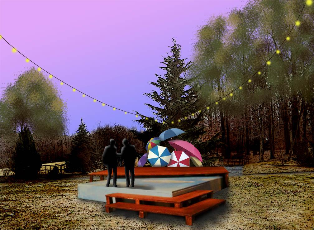 Scenic Designer Adam Riggar's set rendering for THE TWO GENTLEMEN OF VERONA.