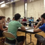 The cast of TWO GENTS at the table read.